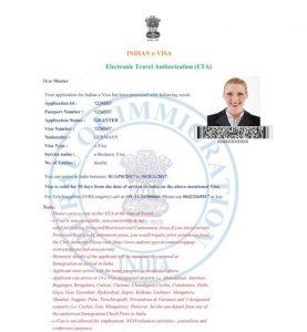Indien E Visum Beispiel
